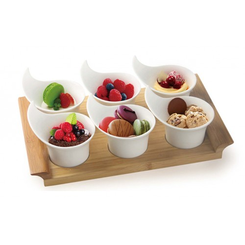 7 Piece Serving Set With Bamboo Tray
