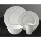 Dinner Set 16pcs: pattern + silver rim